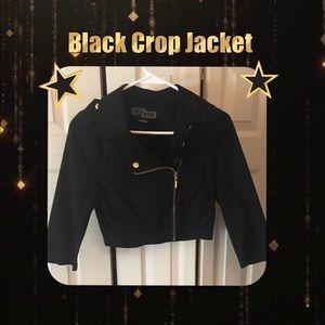 Black crop jacket asymmetrical zipper